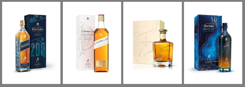 Johnnie Walker marks 200th anniversary with four iconic bottles